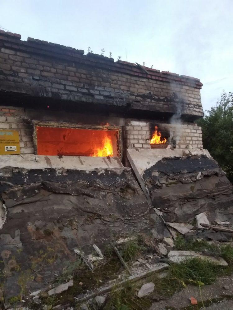 Участие в тушении пожара в здании Комбината строительных конструкций